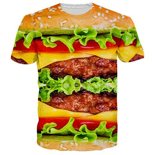 Bfustyle Unisex 3D Gedruckt Sommer Casual Kurzarm Ansatz Top T-Shirts T-Stücke Hamburger