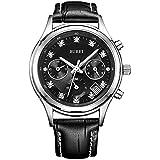 BUREI Elegant Damen Uhren Silber Quarz Armbanduhr mit diamantenlünette Mineral Kristall Zifferblatt Keramik Gurt (schwarz Chronograph Uhr)