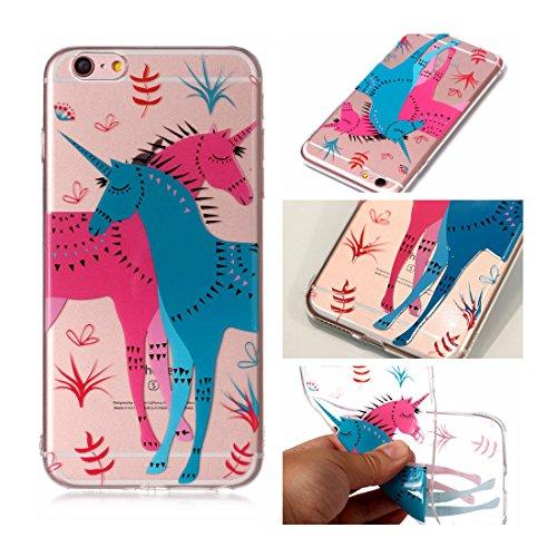 iPhone 6s Plus Custodia, Cartoon unicorno unicorn - TPU Silicone Trasparente Nuovo Gel Soft Case iPhone 6 Plus / 6S Plus Custodia 5.5 durevole Cartoon Cover, Prova di scossa anti-graffio # # 6