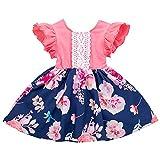 Livoral Sommer-Kleinkind-Baby-Fliegen-Hülsen-Rüschen-Blumendruck-Spitze-Kleid-Kleidung(Rosa,90)