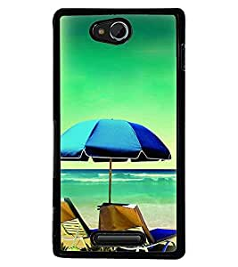 Printvisa Beach Relaxation Pic Back Case Cover for Sony Xperia C::Sony Xperia C HSPA+ C2305
