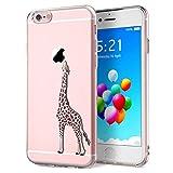 Yokata für iPhone 6s Plus Hülle iPhone 6 Plus Hülle Silikon Transparent Durchsichtig Handyhülle Schutzhülle TPU Dünn Slim Kratzfest mit Motiv - Giraffe Motiv