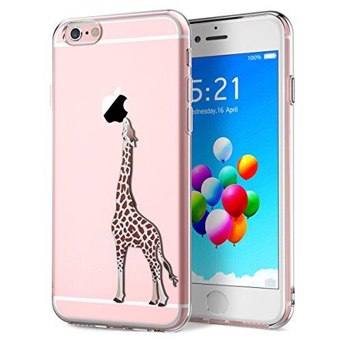 Yokata iPhone 6 / iPhone 6s Hülle Durchsichtig Silikon mit Weich Bumper Klar Schutz Handyhülle Case Tasche - Amüsant Wunderlich Design Giraffe Motiv Absolut Iphone 6