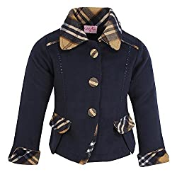 Cutecumber Girls Coat Fabric Embellished Navy Coat. 2292A-NAVY-18