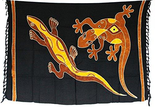 Sarong Pareo Wickelrock Strandtuch Tuch Wickeltuch Handtuch - Blickdicht - ca. 170cm x 110cm - Schwarz Braun mit Gecko Motiv Handgefertigt inkl. Kokos Schnalle in Rauteform