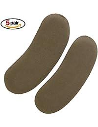 Okayji Anti-slip Sponge Heel Girps Liners Pads for Heel Comfort 5 Pair, Brown