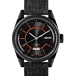 MEDOTA Grancey Men's Automatic Water Resistant Analog Quartz Watch - No. 2704 (Black/Orange)