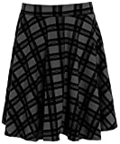 Chocolate Pickle ® Frauen plus size Tartan Check Block Stretchband abgefackelt Skater Röcke (50/52, Black)