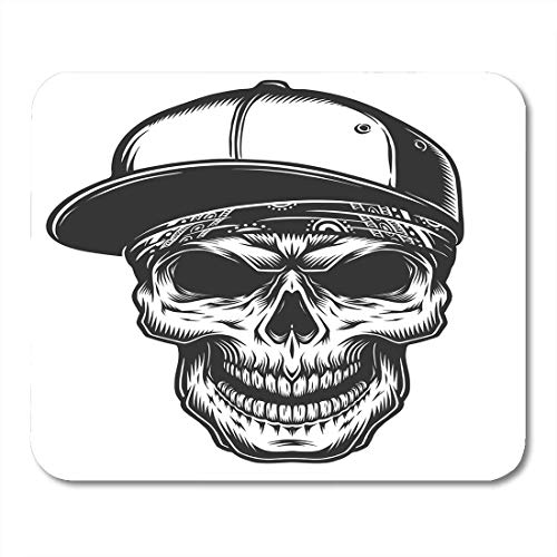 pad-Matte, Black Hat of The Skull in Bandana and Baseball Mouse Pad, Desktop Computers mats ()