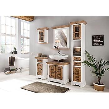 Woodkings® Bad Set Manila Echtholz Pinie Natur Rustikal Und MDF Weiß  Badmöbel Set Landhaus Badezimmerset