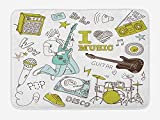 NasNew Doormats Popstar Party Bath Mat, I Love Music Themed Sketch Composition Instruments Musician Girl, Plush Bathroom Decor Mat with Non Slip Backing, 23.6 W X 15.7W inches, Khaki Pale Blue Brown