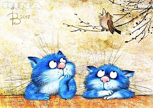 DIY Ölgemälde, Malen nach Zahlen Kit für Kinder Erwachsene Anfänger 40,6x 50,8cm-Zwei Blau Katzen, Zeichnen mit Pinsel Weihnachten Decor Dekorationen Geschenke Without Frame -