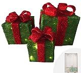 Weihnachtsdekoration Sale Pre Lit Light Up präsentiert Ornamente Geschenkset mit 3 grünen Glitzerpaketen mit roter Schleife 55 LEDs batteriebetrieben Perfekt für Weihnachtsbaum