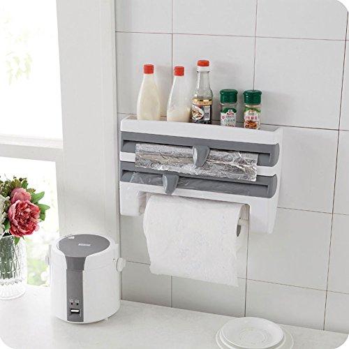 ebilun cocina soporte de pared lámina de Se aferran película lata dispensador de rollo de papel toalla Holder rack, Gray