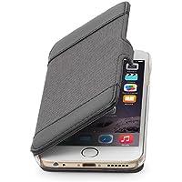 """StilGut Book Type, Hülle aus Leder und Textil für Apple iPhone 6 (4.7""""), schwarz/grau"""
