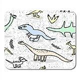 Tappetino per mouse da gioco Modello senza cuciture con dinosauro Doodle Carta da parati strutturata vettoriale in tappetino per mouse 25X30 cm per bambini