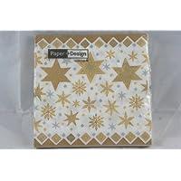 Tovaglioli Carta Natale 33x33 Stars Gold 20 pz -60599- Stelle oro