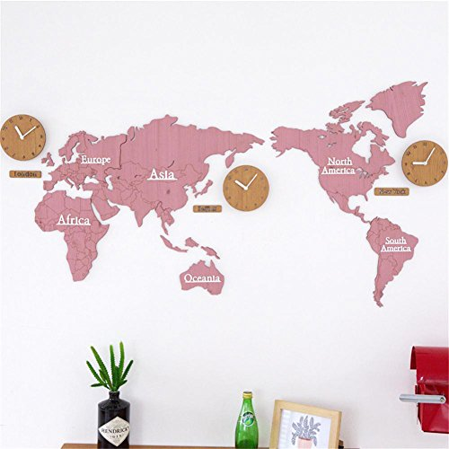 Desertcart oman mgwq buy mgwq products online in oman muscat acrylic wall mounted mute clock world map wall stickers bedroom background decoration pine wood clock b gumiabroncs Images