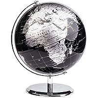 EXERZ World Globe Globo (Dia 20cm)/ Globo terráqueo - en Inglés - Decoración de Escritorio educativa / geográfica / Moderna - con una Base de Metal (20cm Negro Metálico)