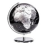 Exerz Metallisch Globus (Durchmesser: 20 cm) - Pädagogisch/Geografisch / Dekoration - Mit einem Metallfuß - in Englischer Sprache (20CM Metallisches Schwarz)