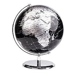 Idea Regalo - Exerz 20CM Mappamondo/World Globe/Globo in Inglese - Decorazione Desktop/Educazione/Geografica/Moderna - Con Base in Metallo (20CM Nero Metallizzato)