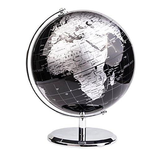 Exerz 20 CM Globo terráqueo - en Inglés - Decoración de escritorio educativa/geográfica/moderna - Con una base de metal - Negro Metálico