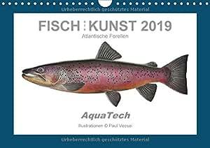 Fisch als Kunst 2019: Atlantische Forellen (Wandkalender 2019 DIN A4 quer): Mit 13 wissenschaftlichen Farbillustrationen (Monatskalender, 14 Seiten ) (CALVENDO Tiere)