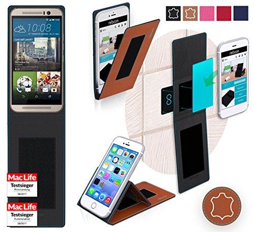 reboon Hülle für HTC One M9s Tasche Cover Case Bumper | Braun Leder | Testsieger