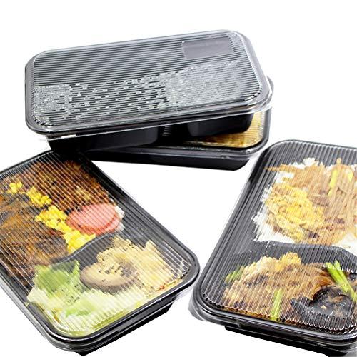 Meal Prep Container mit Deckel, 2-fach Einweg-Lunchboxen für Mikrowelle/Spülmaschine/Gefrierschrank Sichere Lagerung von Lebensmitteln Bento Box,50pcs (Gefrierschrank Lebensmittel-lagerung-container)