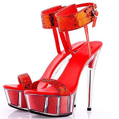 W&LMsandali Tacchi alti Spessore inferiore Piattaforma impermeabile Trasparente Scarpe Scarpe da banchetto Scarpe di cristallo Scarpe modello Red