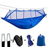 Qnlly Moskito-Hängematte-Hängematte im Freien mit Moskitonetz-Feld-kampierendem Luftzelt-Innenschwingen,Blue