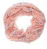 AdoniaMode Damen Loop Schlauch-Schal Hals-Tuch Leichte Viskose Streublümchen Muster 15-56 Lachs-Rosa