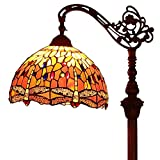 Bieye L30713 Libélula Tiffany Style - Lámpara de lectura de piso de vidrio manchado con base de metal de pantalla hecha a mano de 12 pulgadas de ancho para sala de estar Dormitorio