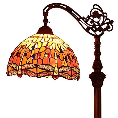 Bieye L30713 Libelle Tiffany Stil Glasmalerei Stehleuchte mit 12 Zoll breiten Lampenschirm Metallfuß, 62 Zoll groß, Orange