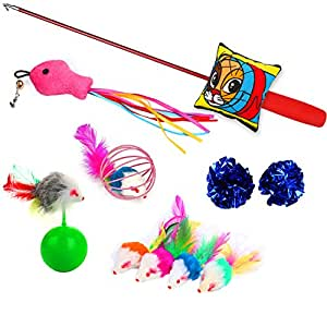 Cat toys 10 pieces kitten toys including cat teaser wand for Diy cat teaser wand