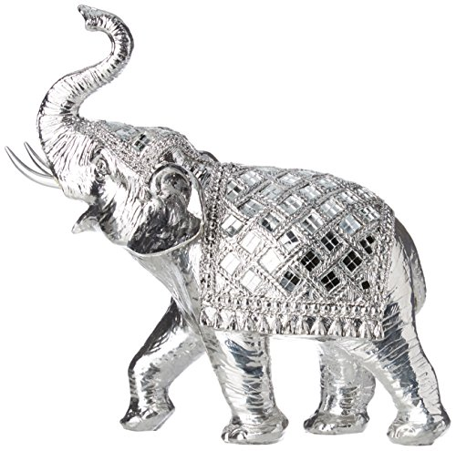 Sukima Decor Figura con Diseño Elefante, Resina, Plateado, 24 cm