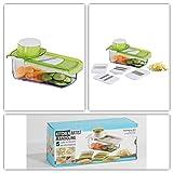 Multi-Reibe Auffangbehälter Gemüse-Hobel Käsereibe 5 Aufsätze (Vorratsdose, Gemüsereibe, Rohkost, Mehrzweckreibe, Länge 27,5 cm x Breite 15,7 cm)