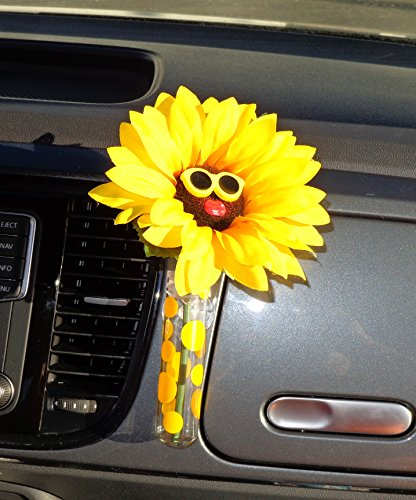 Auto Vase-Sonnenblume gelb Brille mit Universal Vase
