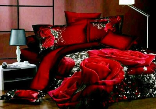 3D Effect Photo Print Lovely Red Roses 3 PCS Duvet Cover Bedding Set 100% Cotton (Double Size) Valentines Day gift
