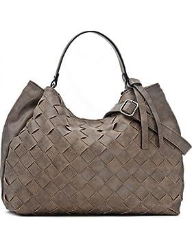 Hochwertige Damen Handtasche - Umhängetasche mit abnehmbarem Schulterriemen - Hobo Bag in Flechtoptik - 40 x 29...