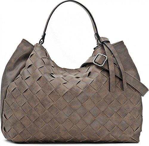 Hochwertige Damen Handtasche - Umhängetasche mit abnehmbarem Schulterriemen - Hobo Bag in Flechtoptik - 40 x 29 x 13,5 cm - Henkeltasche von MIYA BLOOM in Taupe, grau/braun