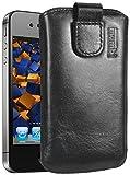 mumbi ECHT Ledertasche für iPhone 4 4S Tasche Leder Etui - Lasche mit Rückzugfunktion Ausziehhilfe