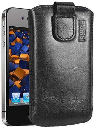 mumbi ECHT Ledertasche für iPhone 4 4S Tasche Leder Etui - Lasche mit Rückzugfunktion Ausziehhilfe Apple Iphone 4s Leder
