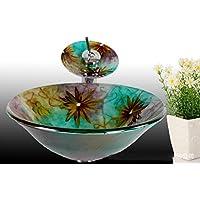 AIURLIFE Multicolor rotondo in vetro temperato nave lavello con rubinetto cascata Pop - Up di scarico e anello di montaggio