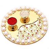 Diwali Gifts Pooja Thalis-Golden Pearl P...