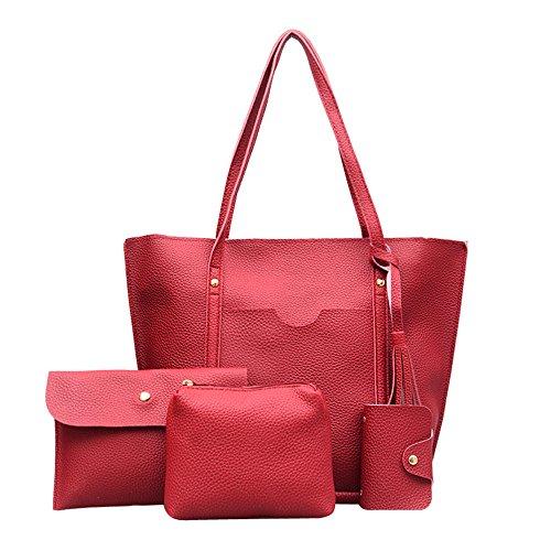 YWLINK Damen Elegant Klassisch Volltonfarbe Quaste PU Shopper Henkeltaschen + Schultertaschen + Brieftasche + Bankkarte Tasche 1 Set Satin-tab