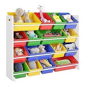 Homfa Kinderregal Spielzeugregal Kinderzimmerregal Aufbewahrungsregal Toy Organizer für Spielzeug, 16 Kästen aus…