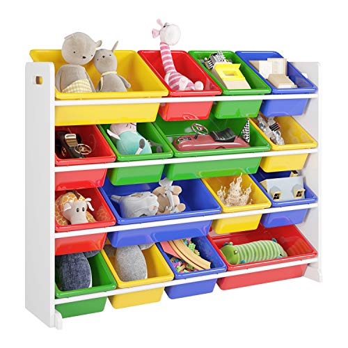 Homfa Estantería Infantil para Juguetes Organizador para Juguetes Almacenamiento Juguetes con 16 Cajas de 4 Niveles 105x23x80cm