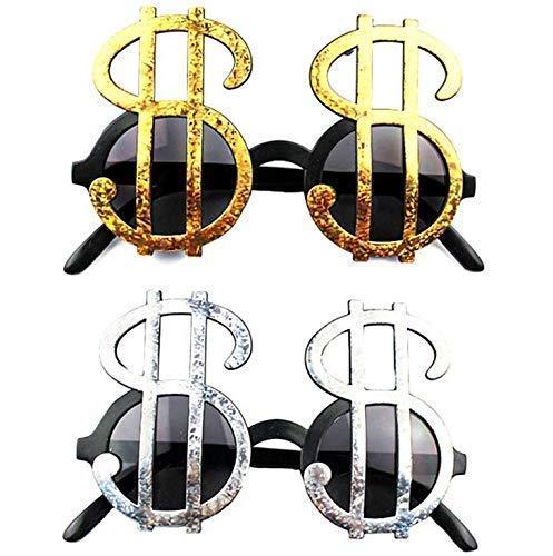 Kostüm Silber Dollar - Gwill 4 Pairs Kreative Gold & Silber Shiny Dollar Zeichen Kostüm Gläser Geld Party Favors Brillen Requisiten Event Festliche Party Supplies Dekoration