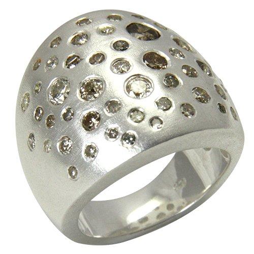 Diamantring Silber Goldschmiedearbeit (Sterlingsilber 925) - Diamant Ring 3 Karat